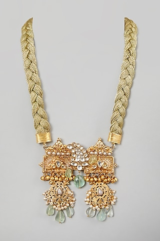 Gold Finish Temple Pendant Necklace by Rohita and Deepa
