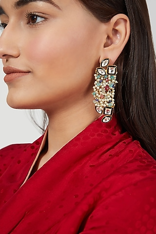 Gold Finish Enameled Earrings by Rohita and Deepa