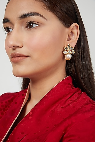 Gold Finish Mirror Earrings by Rohita and Deepa