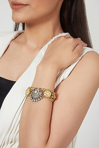 Gold & Silver Finish Flexible Mesh Bracelet by Rohita and Deepa
