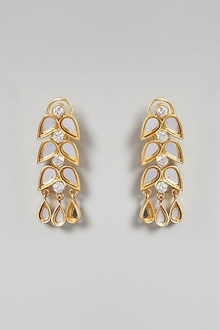 Gold Finish Cubic Zirconium Earrings by Rohita and Deepa