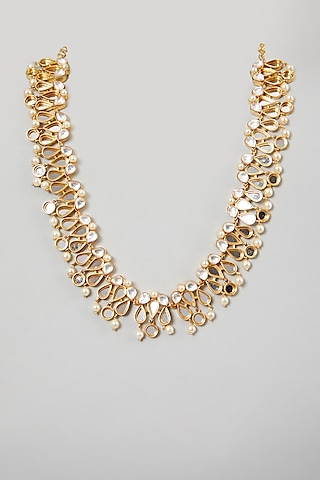 Gold Finish Round Pearl Necklace by Rohita and Deepa