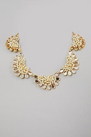 Gold Finish Mirror & Pearl Necklace by Rohita and Deepa