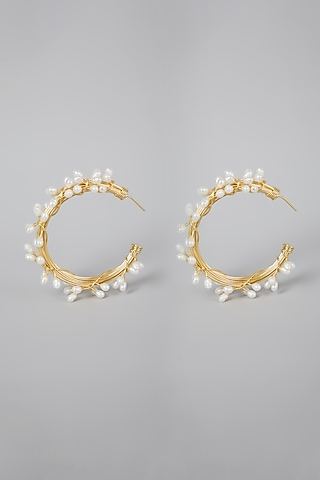 Gold Finish Pearl Hoops Earrings by Rohita And Deepa