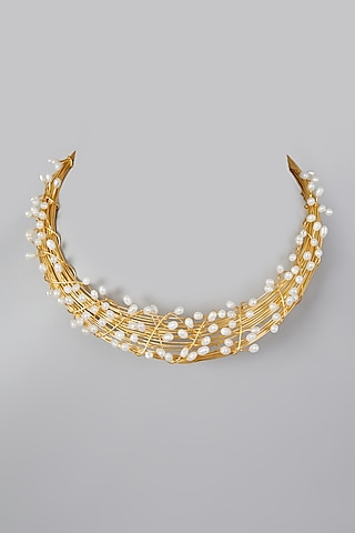 Gold Finish Pearl Necklace by Rohita And Deepa