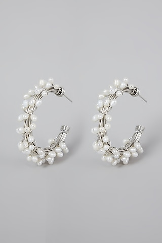 Silver Finish Pearl Hoops Earrings by Rohita And Deepa