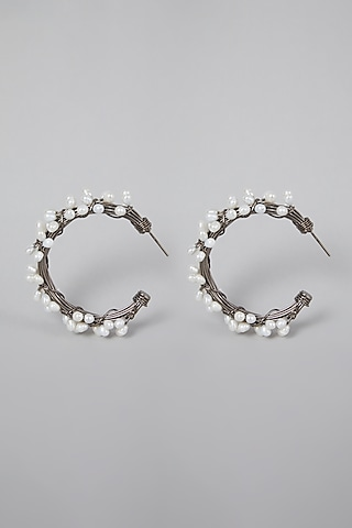 Silver Finish Hoops Earrings With Pearls by Rohita And Deepa