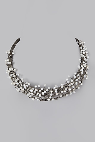 Silver Finish Necklace With Pearls by Rohita And Deepa