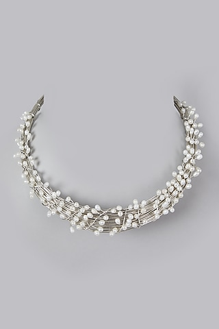 Silver Finish Pearl Necklace by Rohita And Deepa
