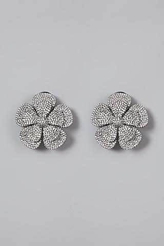 Silver Finish Zirconium Earrings by Rohita And Deepa