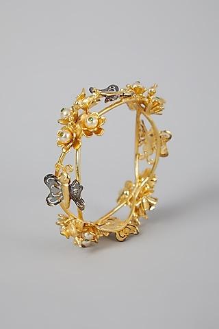 Gold Finish Floral Motifs Bangle by Rohita And Deepa