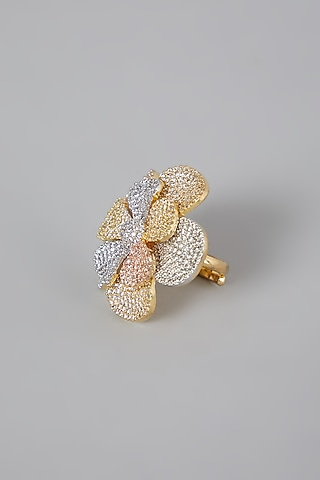 Gold Finish Zirconium Ring by Rohita And Deepa