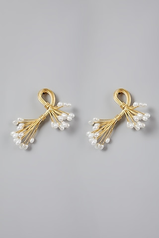 Gold Finish Pearl Earrings by Rohita And Deepa