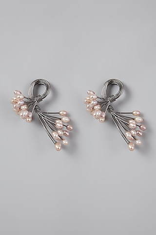 Silver Finish Pearl Earrings by Rohita And Deepa