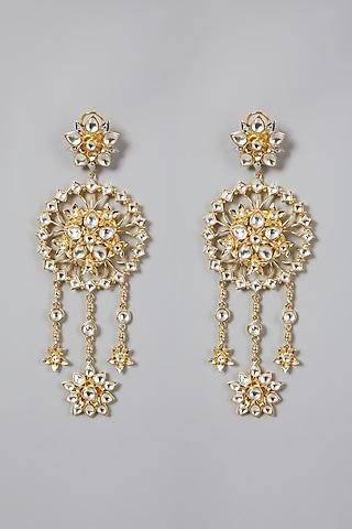 Gold Finish Kundan Polki Earrings by Rohita And Deepa