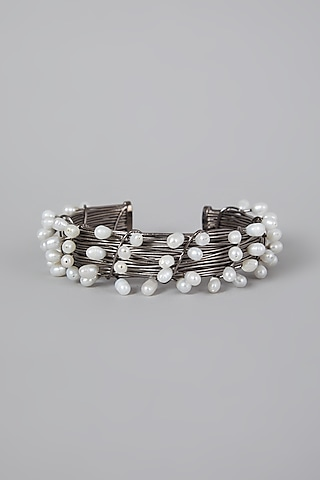 Silver Finish Pearl Hand Cuff by Rohita And Deepa
