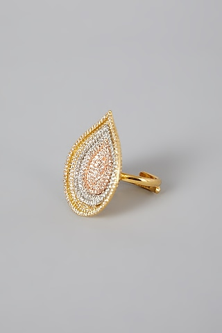 Gold Finish Earrings With Zirconium by Rohita And Deepa