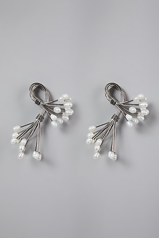Silver Finish Earrings With Pearls by Rohita And Deepa