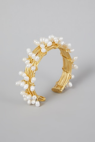 Gold Finish Pearl Hand Cuff by Rohita And Deepa