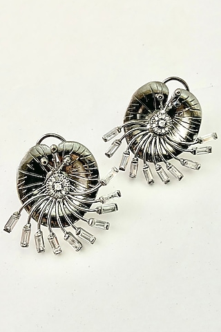 Antique Silver Finish Zirconium Textured Earrings by Rohita And Deepa