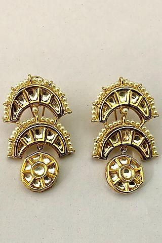 Gold Finish Baby Pearl & Kundan Polki Earrings by Rohita And Deepa