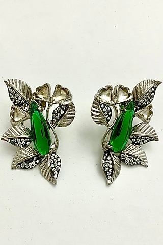 Silver Finish Colored Glass Earrings by Rohita And Deepa