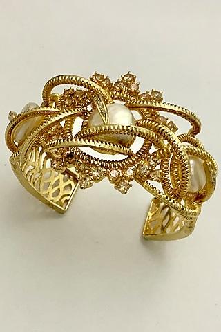 Gold Finish Baroque Pearl Cuff by Rohita And Deepa