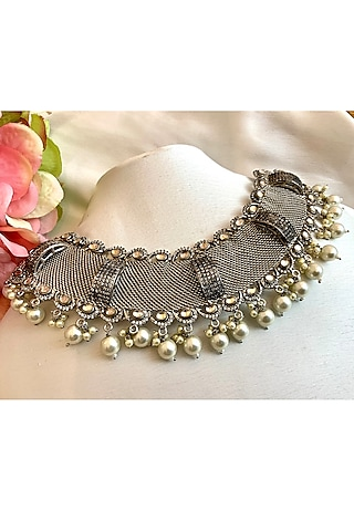 Silver Finish Pearl Mesh Necklace by Rohita And Deepa