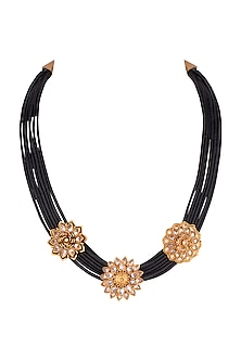 Copper Finish Polki Stone Motif Necklace by Rohita and Deepa