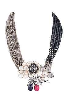 Antique Silver Finish Enamelled Pearl Necklace by Rohita and Deepa