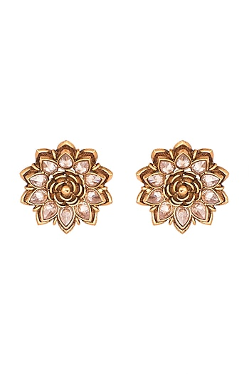 Copper Finish Cubic Zirconium Earrings by Rohita and Deepa