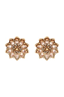Copper Finish Cubic Zirconium Earrings by Rohita and Deepa
