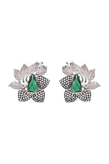 Antique Silver & Black Rhodium Finish Green Glass Earrings by Rohita and Deepa