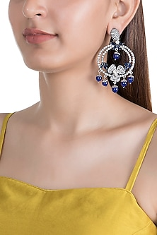 Antique Silver & Black Rhodium Finish Blue Quartz Earrings by Rohita and Deepa