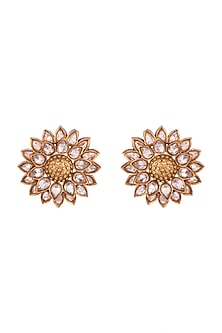 Copper Finish Floral Motif Earrings by Rohita and Deepa