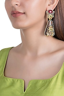 Gold Finish Sheesham Wood Dangler Earrings by Rohita and Deepa