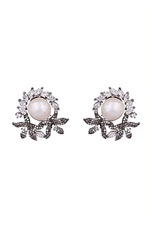 Antique Silver & Black Rhodium Finish Earrings by Rohita and Deepa