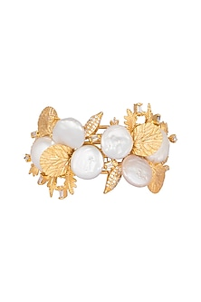 Gold Finish Baroque Pearl Cuff Bracelet by Rohita and Deepa