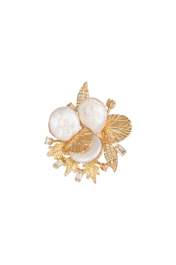 Gold Finish Baroque Pearl Adjustable Ring by Rohita and Deepa