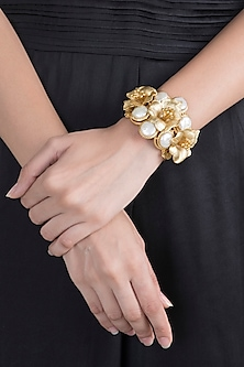Gold Finish Baroque Pearl Floral Bracelet by Rohita and Deepa