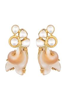 Gold Finish Kundan Crystals & Pearl Earrings by Rohita and Deepa