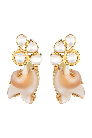 Gold Finish Kundan Crystals & Pearl Earrings by Rohita and Deepa
