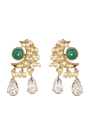Gold Plated Green Onyx Earrings by Rohita And Deepa