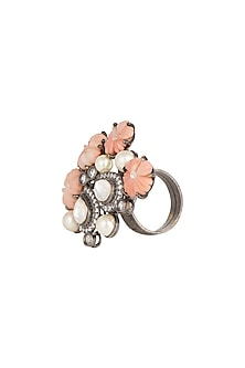 Silver Finish Kundan Cocktail Ring by Rohita And Deepa