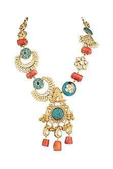 Gold Plated Kundan Ghungroo Necklace by Rohita And Deepa