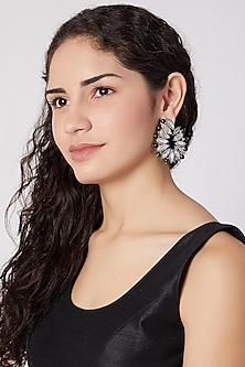 White Finish Onyx Beads Earrings by Rohita and Deepa