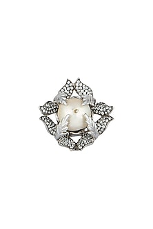 White Finish Baroque Pearl Ring by Rohita and Deepa