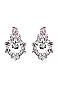 White Finish Kundan Earrings by Rohita and Deepa