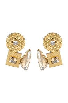 Gold Finish Champagne Swarovski Earrings by Rohita and Deepa