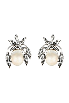 White Finish Baroque Pearl Earrings by Rohita and Deepa